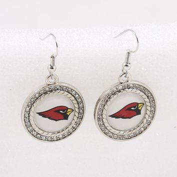 Football Fans Earrings Alloy With Crystals American Football Arizona Cardinals Charm Drop Earrings Dropshipping