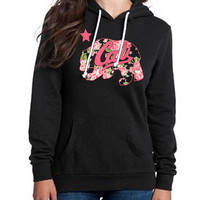 Black Hoodie Sweatshirt cali bear flowers