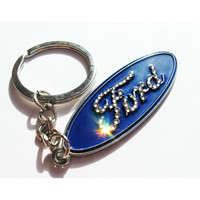 Ford Keyring BLING Ford Keychain with Swarovski crystals Ford sleutelhanger Ford emblem Ford  Keychain Ford Key chain Ford