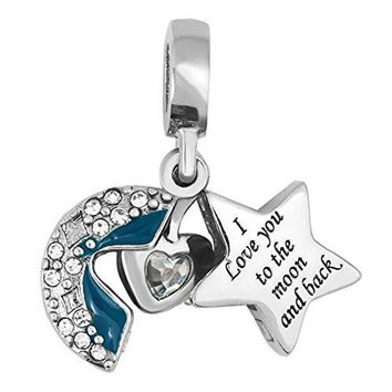 ShinyJewelry I Love You To The Moon and Back Heart Star Dangle Charm Bead For Bracelets