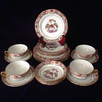 Vintage J. Pouyat Limoges Tea & Luncheon Plate Set for 4 - Elegant Entertaining - Wedding/Engagement/Shower/Mother's Day/Housewarming Gift