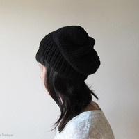 Black Slouchy Hat, Hand Knit Chunky Slouch Hat, Women Knit Hat, Wool Blend Seamless Beanie, Mens Slouchy Beanie, Gift for Her, Made to Order