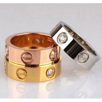 Cartier New Fashion Plated Diamonds Ring Women Jewelry