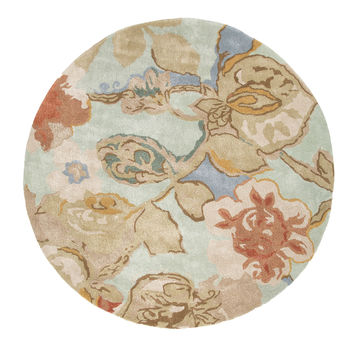 Jaipur Rugs Modern Floral Pattern Blue/Red Wool and Art Silk Area Rug BL71 (Round)