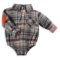 Beetle & Thread Long-Sleeve Flannel Shirtzie™ in Brown Plaid