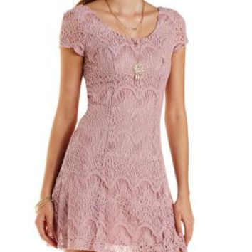 Lavender Fog Cap Sleeve Lace Skater Dress by Charlotte Russe