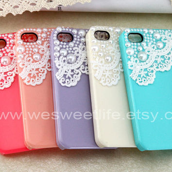 Vintage Lace with Pearl iPhone 4 case iPhone 4s by wesweetlife