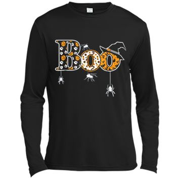 Boo Halloween  With Spiders And Witch Hat Long Sleeve Moisture Absorbing Shirt