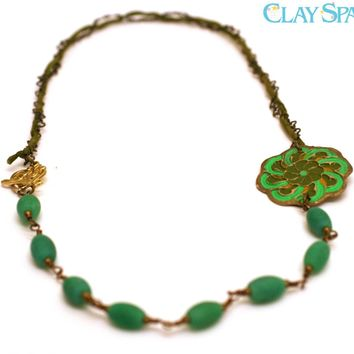 Irish Celtic Knot Necklae with Antique Style Artisan Crafted Bronze Pendant and Green Fire Agate Beads.