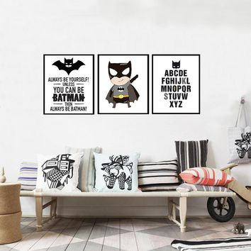 Batman Dark Knight gift Christmas Batman Logo Super Hero Canvas Painting ABC Alphabet Nursery Wall Art Posters Prints Pictures for Kids Room Home Decor No Frame AT_71_6