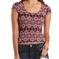 Mixed Print Zip-Back Crop Top by Charlotte Russe