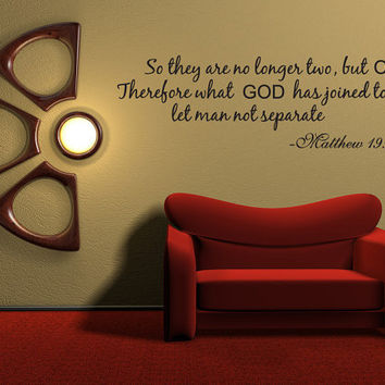 So They Are No Longer Two Vinyl Word Quote Wall Decal God Scripture Matthew Marriage (v161)