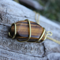 Tigers eye yellow gold wire wrap necklace pendant