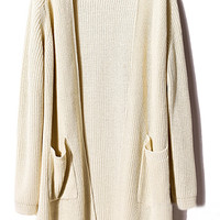 ROMWE | Buttonless Loose Cream Cardigan, The Latest Street Fashion