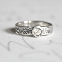 white sapphire scroll engagement ring . recycled silver engagement ring . engraved message . ready to ship size 5 by peacesofindigo