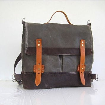 "SALE - Waxed Canvas Rucksack/Backpack/Messenger Bag Water Resistant Shoulder Pads Leather Stone Brown Unisex 13"" Laptop"