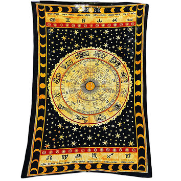 Black Zodiac Horoscope Tapestry