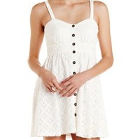 White Button-Up Crocheted Lace Dress by Charlotte Russe
