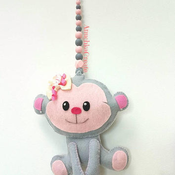 Small Wall Hanging Nursery Decor, Small Monkey, Kids Room Ornament, Monkey Birthday Present, Monkey Girl Gift, Felt Art, Little Girl Present