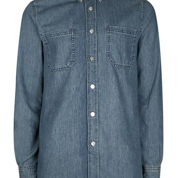 Blue Double Pocket Denim Shirt
