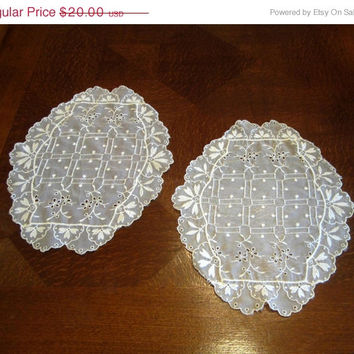 SPRING SALE Vintage Eyelet Lace Doilies Dainty and Gossamer