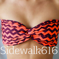 Orange and Black Chevron Bandeau Top Spandex Bandeau Bikini