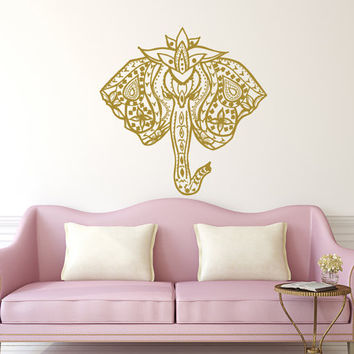 Elephant Wall Decal Stickers Floral Patterns Yoga Decals Home Decor Indie Wall Art Boho Bedding Nursery Bedroom Dorm Design Interior T162