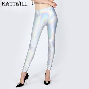 2017 New Women's Shining Metal Imitation Leather Women Leggings Lady Push Up Leggings Sexy Female Slim Pencil Fitness Leggings