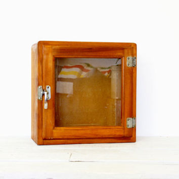 Antique Wood Medicine Curio Cabinet