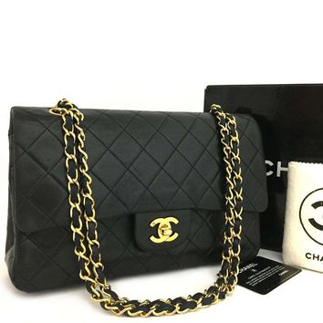 CHANEL Double Flap 25 Quilted CC Logo Lambskin w/Chain Shoulder Bag Black/m151