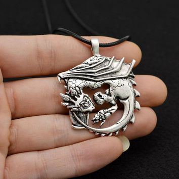 1pcs Wyvern Dragon Pendant Jewelry Medieval Viking Dragon Necklace Antique Silver CT618