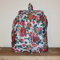 Vintage 90s Floral Print Backpack Gitano Back Pack Rucksack Overnight Bag School Book Bag Weekender Bag Carry On Bag Gym Beach Bag