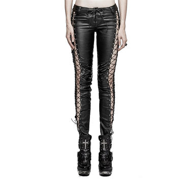Steampunk Women Binding Side Pants Gothic PU Leather Vertical Stripe Leggings Motorcycle Low Waisted Skinny Trousers