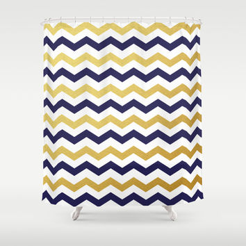 Navy Blue and Gold Chevron Pattern Shower Curtain by Enduring Moments Shop Curtains on Wanelo