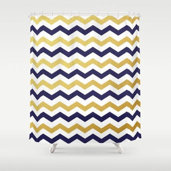 Navy Blue and Gold Chevron Pattern Shower Curtain by Enduring Moments