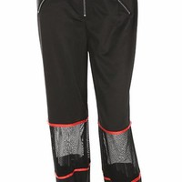 High Waist Mesh Zip Jogger Pants