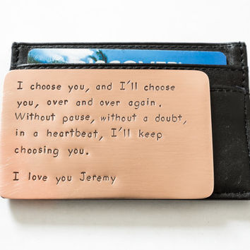 Wallet Insert Card Personalized Hand Stamped Copper Long Las