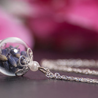 Purple Lavender Necklace, Natural Eco Friendly Pendant, Hand Blown Glass Jewelry with Real Flowers, a perfect Birthday Present