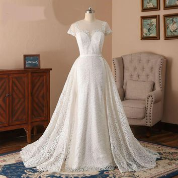 Glitter Lace Mermaid Wedding Dresses With Detachable Train Cap Sleeves bridal gowns