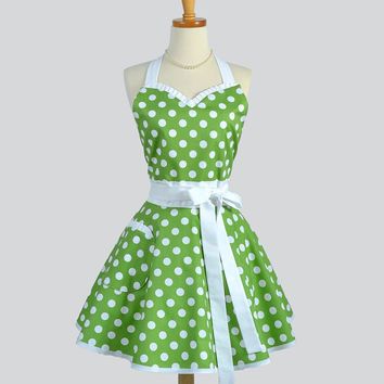 Sweetheart Retro Apron . Sexy  Womens Apron Green and White Dot Cute Full Kitchen Apron