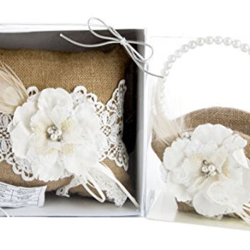"""Maven Gifts: Lillian Rose Burlap and Lace 8"""" Ring Pillow with Lillian Rose Burlap and Lace 7.5"""" Flower Basket"""