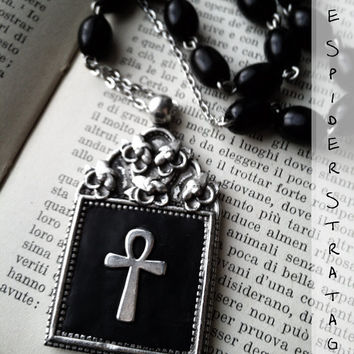 OOAK Gothic victorian silver necklace 'Silver ankh' cross pagan halloween vampire goth adjustable