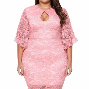Pink Lace Flare Bells Bodycon Plus Size Dress
