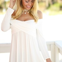 Off White Off Shoulder Tunic