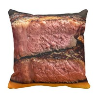 GRILLED STEAKS 3 THROW PILLOW