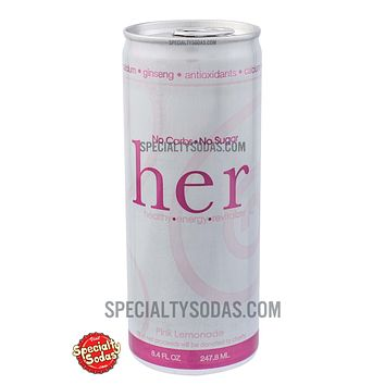 HER Energy Drink No Carbs No Sugar Pink Lemonade 8.4oz Aluminum Can