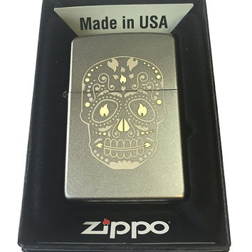 Zippo Custom Lighter - Sugar Skull w/ Flame Eyes Design Satin Chrome 205-MP325918