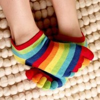 Rainbow Ankle Toe Socks by Toe Toe
