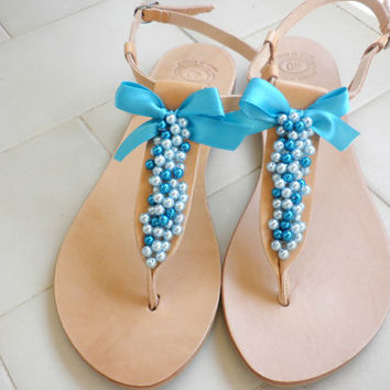 Blue pearls decorated sandals- Leather Greek sandals- Wedding shoes-Summer women flats- Bridesmaids sandals- Something blue- Summer sandals-