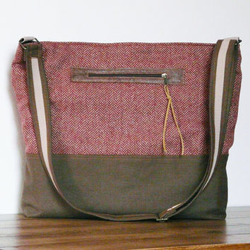 Plaid Messenger Bag Diaper bag Rust brown wool fabric Tote bag MacBook Bag